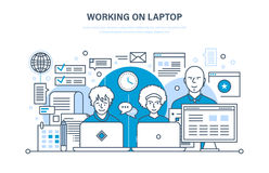 People working on laptop, for business analysis, planning, training, education. Royalty Free Stock Photo