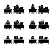 Different family members using computer to go online. vector illustration