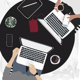 People working on laptops in a cafe. Vector Stock Photo