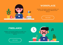 People working at laptops. Set of vector banners Royalty Free Stock Photo