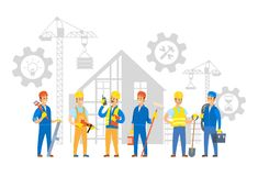 Building Process and Workers with Instruments. People working on new building construction vector, man with cable electrician and person holding shovel, gears vector illustration