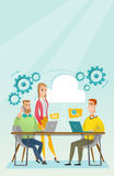 People working in office vector illustration. Royalty Free Stock Photo