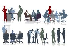 People working in offices. Illustrations of workers in offices some standing and others sitting around a table and others taking part in a seminar, white Stock Photos