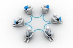 People working online on laptop. 3d illustration of people working online on laptop Stock Images