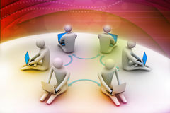 People working online on laptop. 3d illustration of people working online on laptop Royalty Free Stock Image