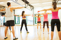 People working out with dumbbells from the back. Fitness, sport, training, gym and lifestyle concept - group of people working out with dumbbells in the gym from Stock Images