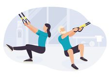People working out on trx fitness training exercising vector illustration