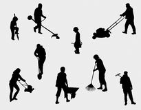 People working outdoors silhouettes Royalty Free Stock Photos