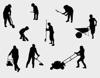 People working outdoors silhouettes Royalty Free Stock Images