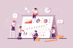 People working at productivity graph stock illustration