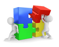 People working with puzzles. 3d rendered illustration Royalty Free Stock Photography