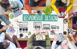 People Working and Responsive Design Concepts. Diverse People Working and Responsive Design Concepts Stock Images