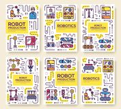 People working on robots assembly thin line set. Robotic production linear template of flyear, magazines, posters, boo. K cover, banners. Layout repairs outline stock illustration