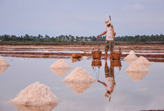 People working on salt field in Cambodia Stock Images
