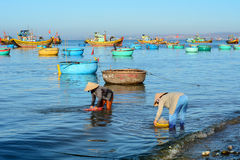 People working at seashore in Nhatrang Stock Photos