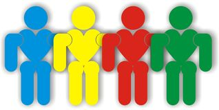People in working together. Colourfull people in working together Royalty Free Stock Photos