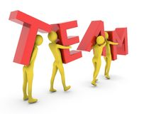 People working together carrying red Team letters. People in Teamwork.High Resolution 3D render isolated on white Stock Image