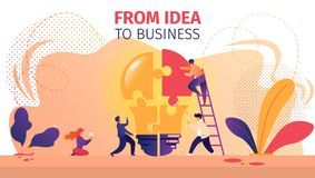 People Working Together Setting Up Huge Light Bulb. From Idea to Business Horizontal Banner. Office People Work Together Setting Up Huge Lightbulb Separated on stock illustration