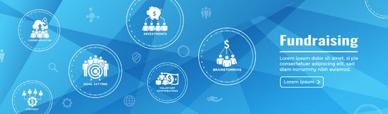 People Working Together to Fund Different Online Ideas w Money -. People Working Together - Fund Different Online Ideas with Money Icon Set Web Header banner vector illustration
