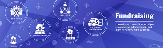 People Working Together to Fund Different Online Ideas w Money -. People Working Together - Fund Different Online Ideas with Money Icon Set Web Header banner stock illustration