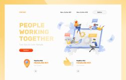 People Working Together Web Page Template stock illustration