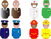 People in working uniform. Illustration of people shapes dressed in working uniforms Stock Illustration