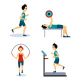 People Workouts Set. Vector Illustration Set Stock Images