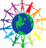 People World. Vector of people all around the world holding hands Stock Photo