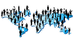 People and world. Illustration of people and map Royalty Free Stock Photo