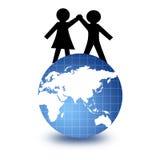 People and world globe stock illustration