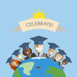 People of the World Graduation and Education Concept. Illustration of different races men and women graduates standing on the top of the earth. Multinational Royalty Free Stock Images