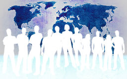 People and world map Stock Photos