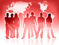 People and world map Stock Photography