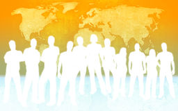 People and world map. People silhouettes and world map Royalty Free Stock Photos