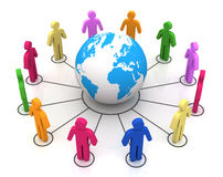 People worldwide computer connection concept 3d illustration. People worldwide computer connection 3d illustration  on white background Royalty Free Stock Images