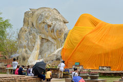 People worship big statue buddha Stock Images