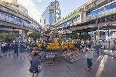 People worship Brahma Statue after bombed at Ratchaprasong. Royalty Free Stock Images