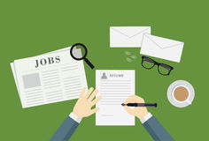 People Writing A Resume To Apply Job Vacancy Royalty Free Stock Image