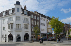 People on Wycker Brugstraat in Maastricht, Netherlands Royalty Free Stock Image