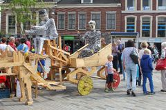 Families have fun at the yearly Steet Festival, Leeuwarden,Netherlands  Royalty Free Stock Photography