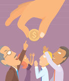 People yearning for money. People asking the big hand for money Royalty Free Stock Photos