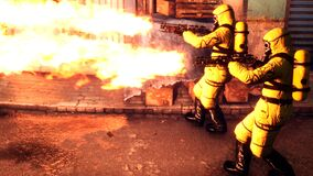People in yellow protective suits disinfect the infected area with a flamethrower. Men in bacteriological suits and gas
