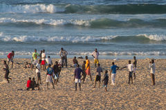 People on the Yoff beach, Dakar Stock Images