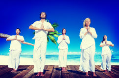 People Yoga Meditation Beach Nature Peaceful Concept Stock Photography
