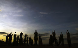 People with Yoga on mountain. Chiangmai, Thailand Royalty Free Stock Photos
