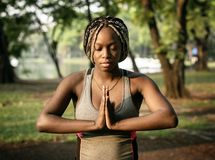 People yoga in a park Stock Photos