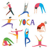 People in yoga poses set Stock Images