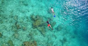 2 people young couple snorkeling over coral reef with drone aerial flying view in crystal clear aqua blue. Two 2 people young couple snorkeling over coral reef stock footage