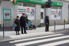 People at a zebra crossing Stock Photo