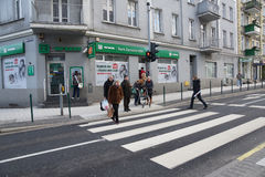 People at a zebra crossing Royalty Free Stock Image